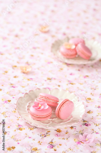 Pink Macarons on white plates