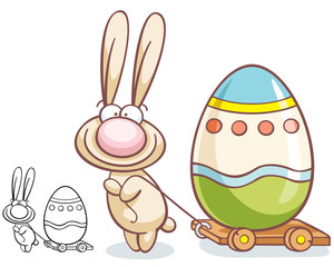cute easter rabbit character with egg on barrow