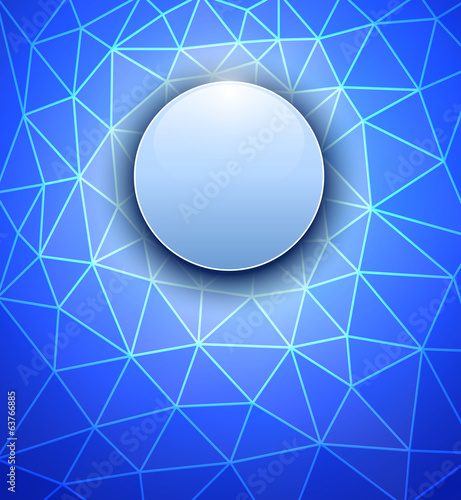 Abstract background sphere on blue polygons texture