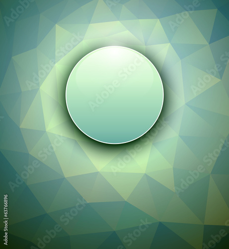 Abstract background sphere on green polygons texture