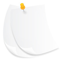Old white sheets of paper on a white background