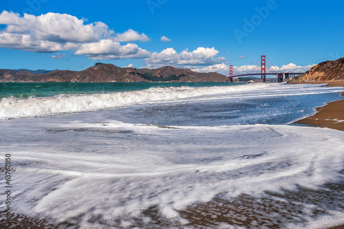 Waves on Baker Beach in San Francisco, USA.