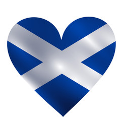 Scotland waving flag in a shape of heart vector