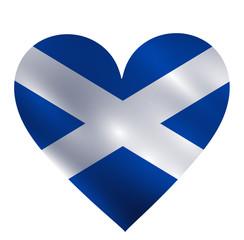 Scotland waving flag in a shape of heart vector