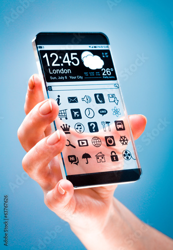 Smartphone with transparent screen in human hands.