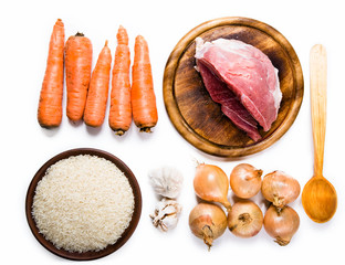 carrots, meat, onions and rice