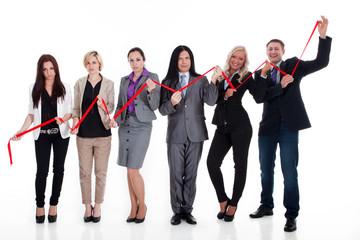 Business Team mit Wirtschafts Grafik
