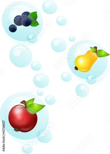 Fruit in bubbles