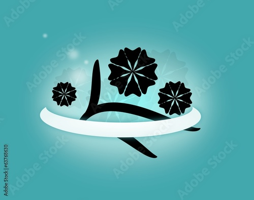 Blue background with black ornaments