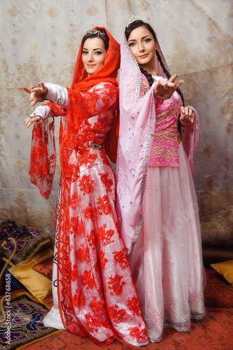 Young ladies in traditional clothing