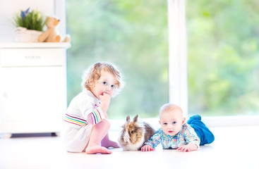 Cute little baby and his toddler sister playing with a bunny
