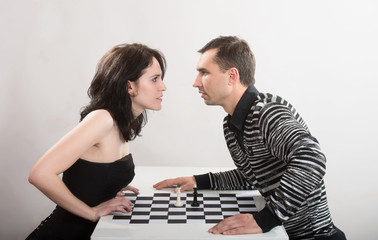 Confrontation between man and woman, concept