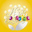 Easter white flower color eggs yellow background