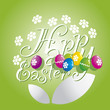 Easter white flower color eggs green background
