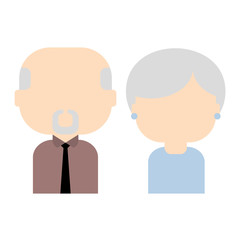 Happy old couple, vector flat illustration