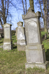 Blank gravestone isolated on historic cemetery