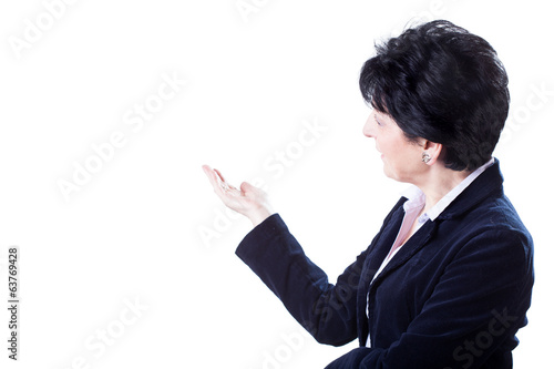 Woman pointing white space