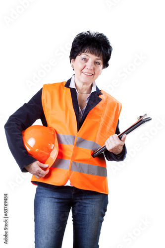 Happy female building manager
