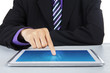 Businessman touching the digital tablet screen