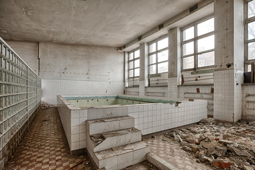 Swimming pool in a ruined building
