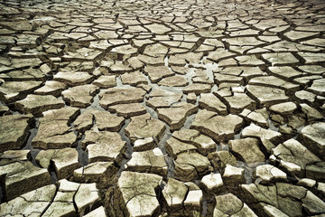 little water left on cracked earth / river dried up