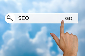 SEO or search engine optimization on search toolbar