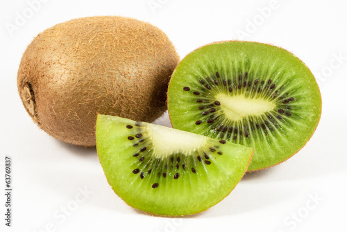 Kiwi fruit and slices isolated on white background