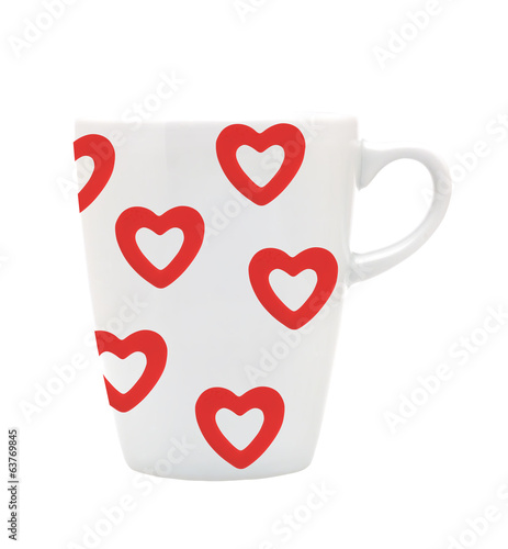 White cup white red hearts isolated on white