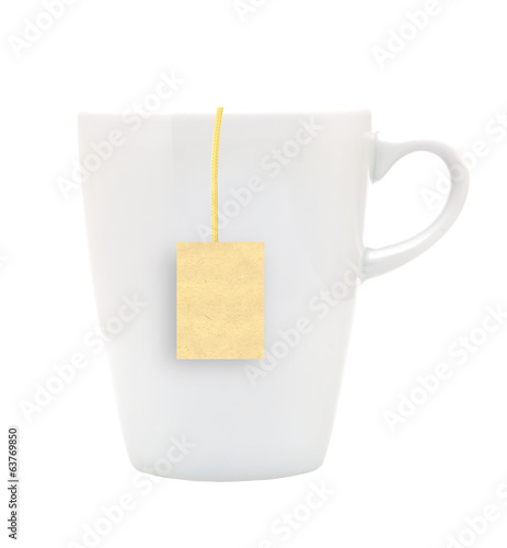 White tea cup with teabag. Isolated on white background