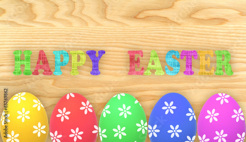 Easter eggs isolated on wooden background
