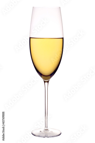Wineglass with white wine, isolated on white