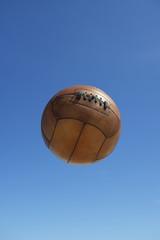Vintage Brown Soccer Ball Football Blue Sky