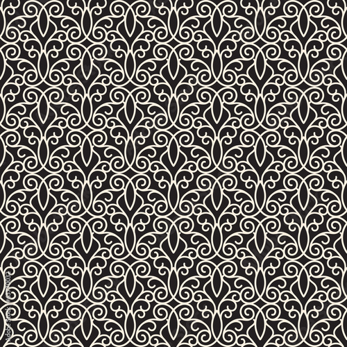 Swirly seamless pattern, monochrome lace ornament