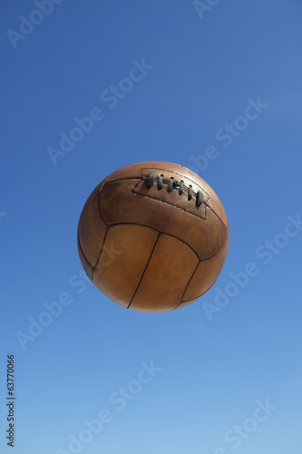 Vintage Brown Soccer Ball Football Blue Sky