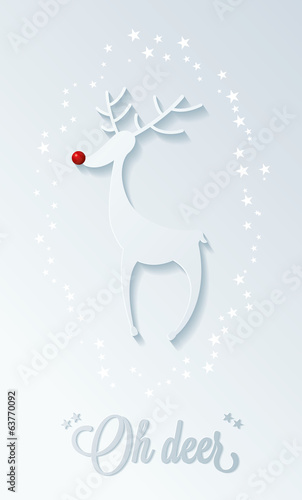 rudolph red nosed reindeer, christmas illustration
