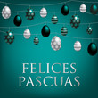 String of Easter eggs card in Portuguese in vector format.