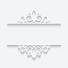 Cutout paper frame, ornamental divider on white