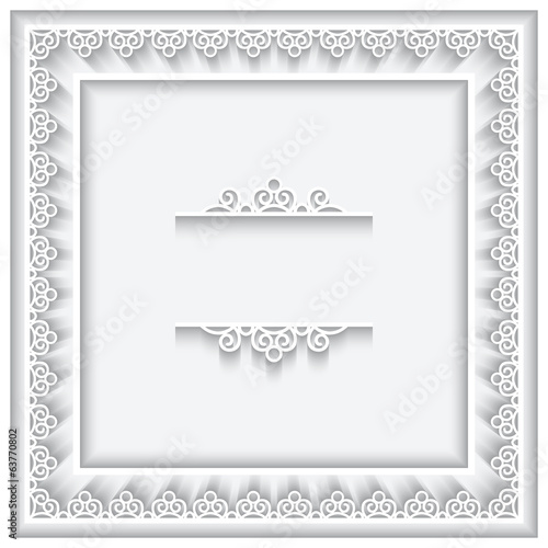 Square cutout paper lace frame on white