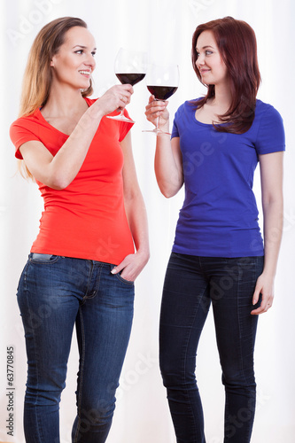 Friends raising their glasses