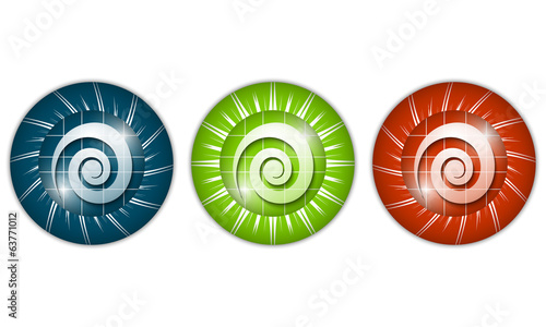 set of three colored icons with spiral