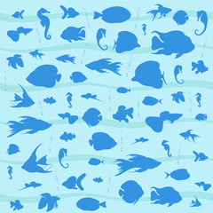 Vector blue background with marine fishes