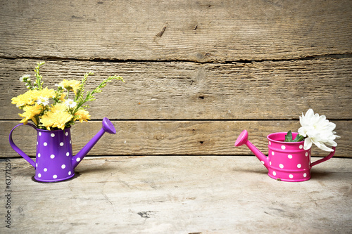 wood texture with colorful watering cans with flowers