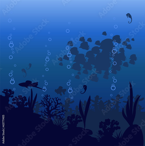 Vector illustration of sea fish on a blue background