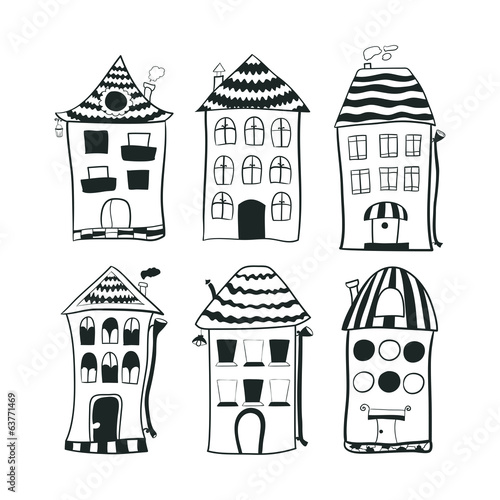 Set sketch black and white outline houses in cartoon style