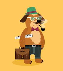 Hipster nerd puppy dog