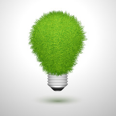 Green creative lightbulb isolated