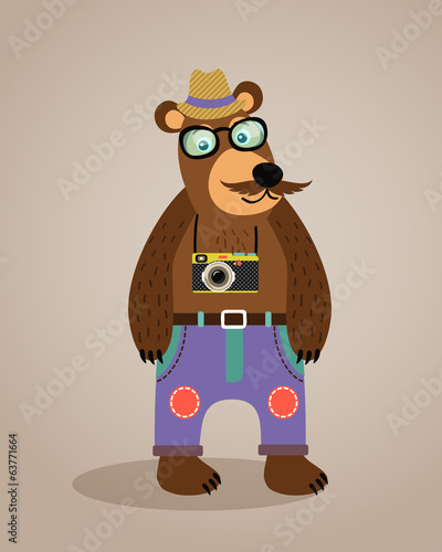 Hipster geek animal teddy bear