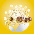Easter white flower chocolate eggs yellow background