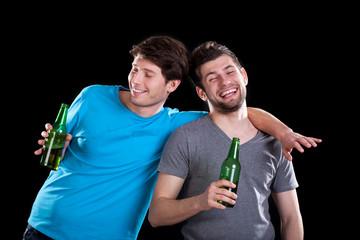 Drunk men friends
