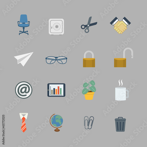 Business collection of flat office supplies
